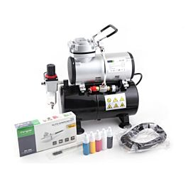 Airbrush Set - Fengda AS-186 Compressor, BD-130 Airbrush and acc.